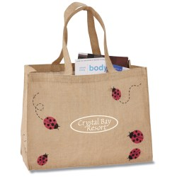 View a larger, more detailed picture of the V Natural Jute Shopper - Ladybugs