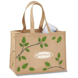 View a larger, more detailed picture of the V Natural Jute Shopper - Leaves