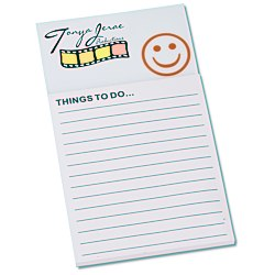 View a larger, more detailed picture of the Bic Business Card Magnet with Note Pad - Smiley Face
