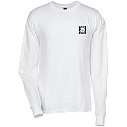 View a larger, more detailed picture of the Hanes LS Beefy-T - Screen - White