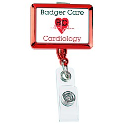 View a larger, more detailed picture of the Retractable Badge Holder - Rectangle - Chrome Finish