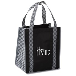 View a larger, more detailed picture of the Grande Printed Shopping Tote - 14 x 12-1 2 - Plaid