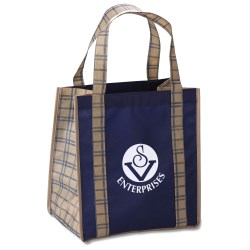 View a larger, more detailed picture of the Grande Printed Shopping Tote - 14 x 12-1 2 - Tartan