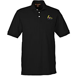 View a larger, more detailed picture of the Harriton 5 6 oz Easy Blend Pocket Polo