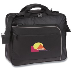 View a larger, more detailed picture of the Life in Motion Primary TSA Laptop Brief Bag - Embroidered