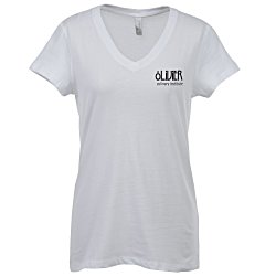 View a larger, more detailed picture of the Bella Canvas V-Neck Jersey T-Shirt - Ladies - White - Screen