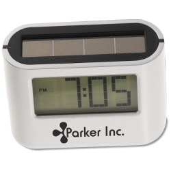 View a larger, more detailed picture of the Oval Solar Alarm Clock - Closeout