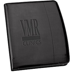 View a larger, more detailed picture of the Windsor Reflections Zippered Padfolio - Debossed - 24 hr
