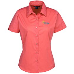 View a larger, more detailed picture of the Easy Care Short Sleeve Stretch Poplin Blouse - Ladies