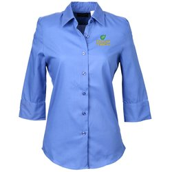 View a larger, more detailed picture of the Soft Collar 3 4 Sleeve Poplin Shirt Ladies
