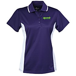 View a larger, more detailed picture of the Tipped Color Block Wicking Polo - Ladies