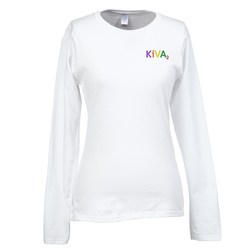 View a larger, more detailed picture of the Gildan SoftStyle LS T-Shirt - Ladies - Emb - White