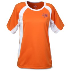 View a larger, more detailed picture of the Anti-Microbial Color Block Wicking Tee - Ladies - Emb