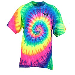 View a larger, more detailed picture of the Tie-Dye T-Shirt - Multi-Color Spiral - Embroidered