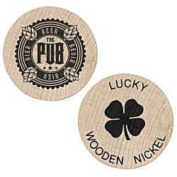 View a larger, more detailed picture of the Wooden Nickel - Lucky