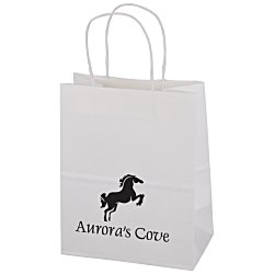 View a larger, more detailed picture of the Kraft Paper White Shopping Bag 9-3 4 x 7-3 4
