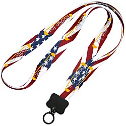 View a larger, more detailed picture of the Dye-Sublimated Lanyard - 3 4 - USA Flag