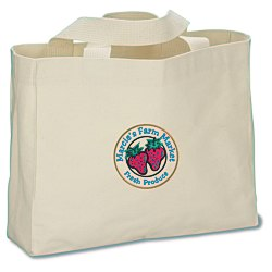 View a larger, more detailed picture of the USA Made Bayside Medium Gusset Tote - Natural - Embroidered
