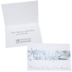 View a larger, more detailed picture of the Silver Snowflakes in Snow Greeting Card