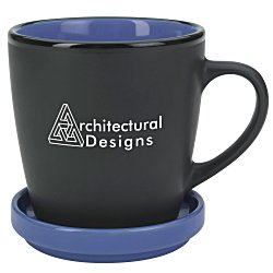 View a larger, more detailed picture of the Double-up Mug with Coaster - Black - 12 oz