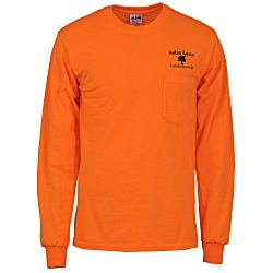 View a larger, more detailed picture of the Gildan 6 oz Ultra Cotton LS Pocket T-Shirt - Colors