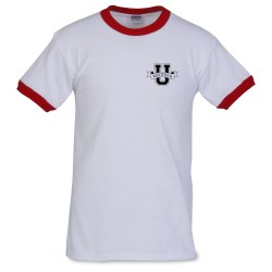 View a larger, more detailed picture of the Gildan Ultra Cotton Ringer T-Shirt - White