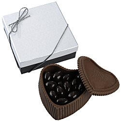 View a larger, more detailed picture of the Chocolate Heart Box with Confection - Silver Box