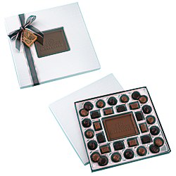 View a larger, more detailed picture of the Chocolate Bites - 1 lb - Silver Box