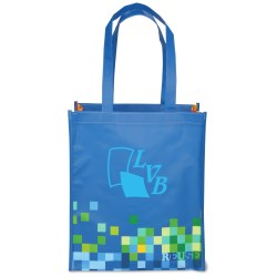 View a larger, more detailed picture of the Inspirations Laminated Grocery Tote - 15 x 13 - Blue