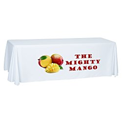 View a larger, more detailed picture of the Economy Open-Back Poly Table Throw - 8 - Front Pane l- Full Color
