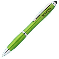 View a larger, more detailed picture of the Curvy Stylus Twist Pen - Metallic