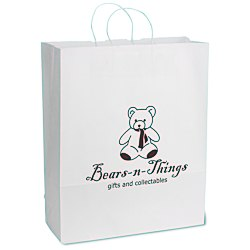 View a larger, more detailed picture of the White Kraft Paper Shopping Bag - 19-1 4 x 16 - 24 hr