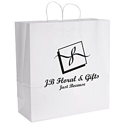 View a larger, more detailed picture of the White Kraft Paper Shopping Bag - 18-3 4 x 18 - 24 hr