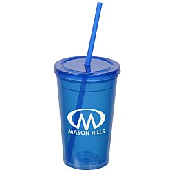 View a larger, more detailed picture of the Economy Double Wall Tumbler with Straw - 16 oz