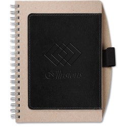 View a larger, more detailed picture of the Recycled Cardboard & Leather Notebook - Closeout