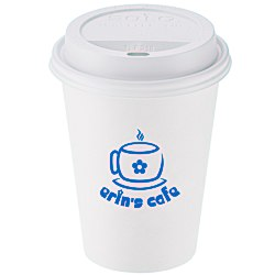 View a larger, more detailed picture of the Paper Hot Cold Cup with Traveler Lid - 12 oz
