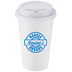 View a larger, more detailed picture of the Paper Hot Cold Cup with Traveler Lid - 16 oz