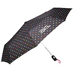 View a larger, more detailed picture of the totes Auto Open Close Umbrella - Polka Dots - 24 hr