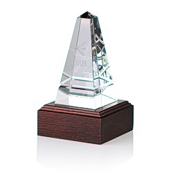 View a larger, more detailed picture of the Imperial Obelisk Crystal Award - Mahogony Base
