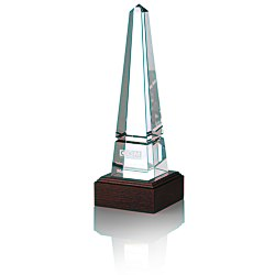 View a larger, more detailed picture of the Pinnacle Obelisk Crystal Award - Mahogany Base