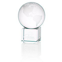View a larger, more detailed picture of the Globe Crystal Desktop Award - 3
