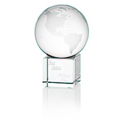 View a larger, more detailed picture of the Globe Crystal Desktop Award - 4