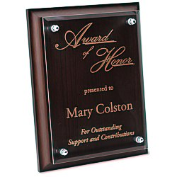 View a larger, more detailed picture of the Walnut Finished Plaque with Jade Glass Plate - 9