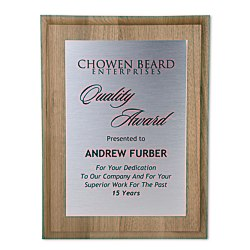 View a larger, more detailed picture of the Walnut Finished Wood Plaque with Aluminum Plate - 12