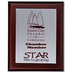 View a larger, more detailed picture of the Cherry Finished Wood Plaque with Aluminum Plate - 10
