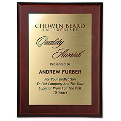 View a larger, more detailed picture of the Cherry Finished Wood Plaque with Aluminum Plate - 12