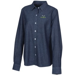 View a larger, more detailed picture of the Open Collar Chambray Shirt - Ladies