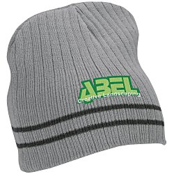 View a larger, more detailed picture of the Rib Knit Stripe Accent Beanie