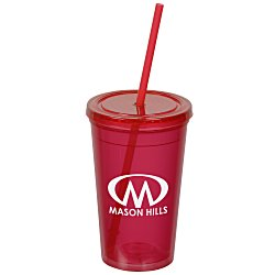 View a larger, more detailed picture of the Economy Double Wall Tumbler with Straw - 16 oz - 24 hr