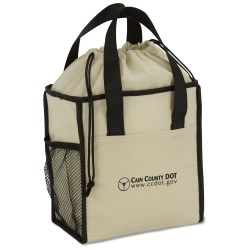 View a larger, more detailed picture of the Drawstring Lunch Cooler Tote - Closeout